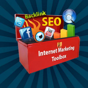 Toolbox with Internet Markinting tools. Internet Marketing, Site Brand, Reputation