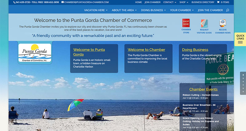 Screenshot of the Punta Gorda Chamber of Commerce Website