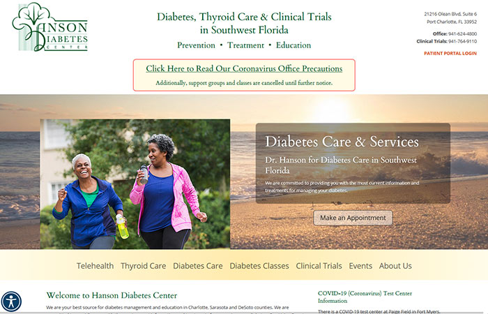 Screenshot of Hanson Diabetes website