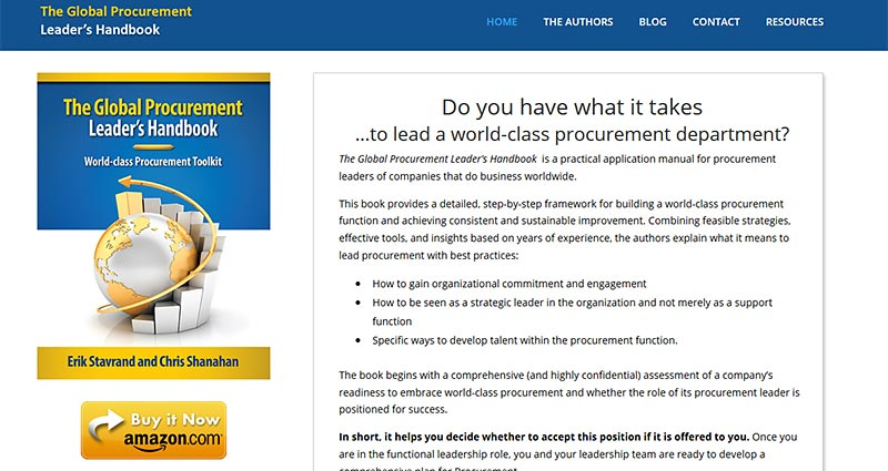 Screenshot of Global Procuremenet Leaders Handbook.com Website