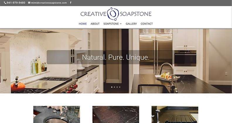 Screenshot of Creative Soapstone.com webstie