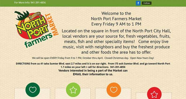 Screenshot of the the North Port Farmer's Market website