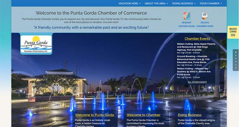 Punta Gorda Chamber of Commerce website screenshot